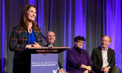 Melinda Gates speaking at the University of Washington in December 2017